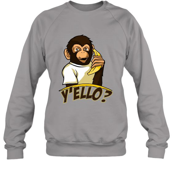Yello Funny Talking Monkey On Banana Phone T Shirt Sweatshirt RE23